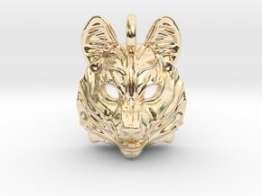Siberian Husky Small Pendant in 14K Yellow Gold