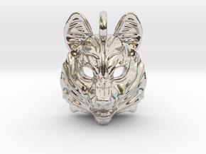 Siberian Husky Small Pendant in Rhodium Plated Brass