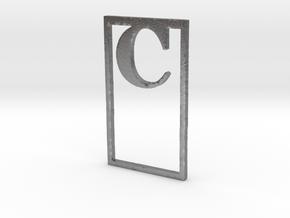 Bookmark Monogram. Initial / Letter  C  in Natural Silver
