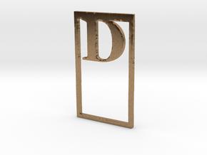 Bookmark Monogram. Initial / Letter  D  in Natural Brass