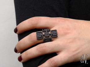 Lith Arms Ring in Matte Black Steel: 8 / 56.75