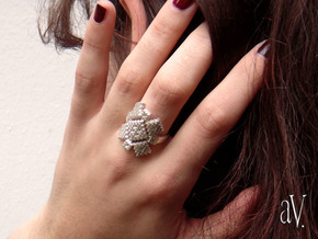 Lith Patch Work Ring in Natural Silver: 8 / 56.75