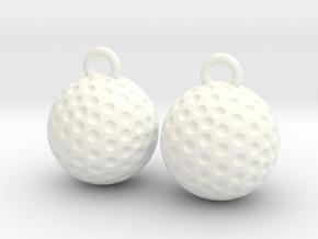 Golf Ball Earrings - Dangle in White Processed Versatile Plastic