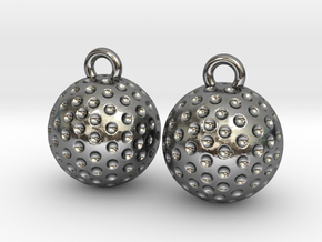 Golf Ball Earrings - Dangle in Polished Silver