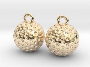 Golf Ball Earrings - Dangle in 14k Gold Plated Brass