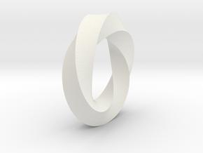 Mobius Strip in White Natural Versatile Plastic