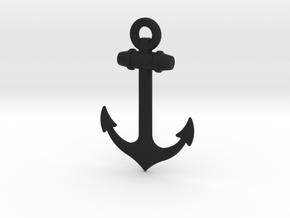 Anchor Pendant in Black Natural Versatile Plastic