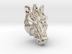 Zebra Small Pendant in Rhodium Plated Brass