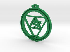 Tri Ouroboros Horus Pendant in Green Processed Versatile Plastic