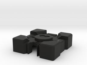 Companion Cube Badge Holder Cover in Black Natural Versatile Plastic