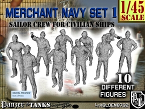 1-45 Merchant Navy Crew Set 1 in Smooth Fine Detail Plastic