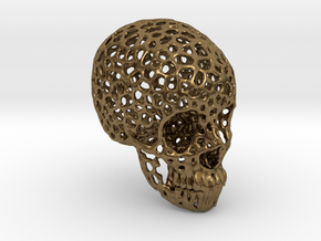 Voronoi Human Skull  in Natural Bronze