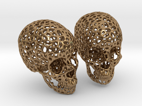 Human Skull Voronoi Style in Natural Brass