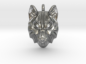 Timber Wolf Small Pendant in Natural Silver