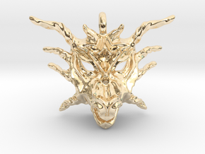 Sunlight Dragon Small Pendant in 14k Gold Plated Brass