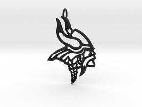 Viking Pendant in Black Natural Versatile Plastic