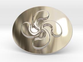 Basque Cross Belt Buckle in Rhodium Plated Brass
