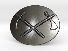 Tomahawk Belt Buckle in Polished Grey Steel
