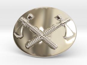 Tomahawk Belt Buckle in Rhodium Plated Brass
