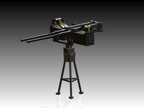 2 x Twin Modern 50 Cal Browning on Tripod 1/39 in Smooth Fine Detail Plastic