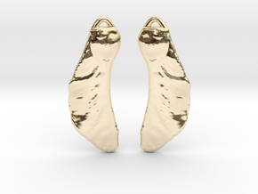 Maple Seed Earrings in 14K Yellow Gold