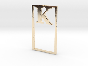 Bookmark Monogram. Initial / Letter  K  in 14k Gold Plated Brass
