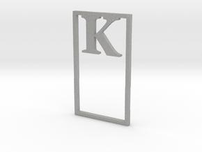 Bookmark Monogram. Initial / Letter  K  in Aluminum
