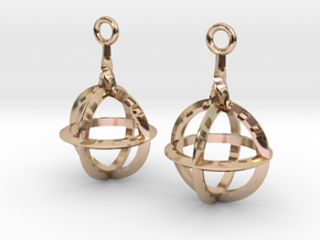Sphere-Cage Earrings in 14k Rose Gold Plated