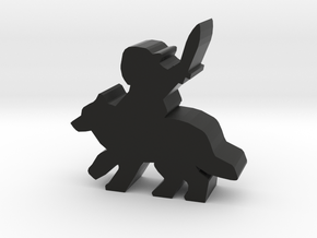 Game Piece, Wolf Rider With Sword in Black Natural Versatile Plastic