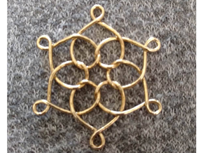 "6 Hearts Snowflake 1.4"" in Natural Brass"