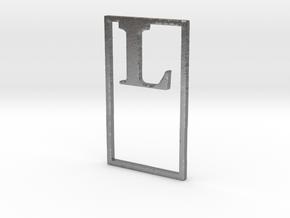 Bookmark Monogram. Initial / Letter  L  in Natural Silver