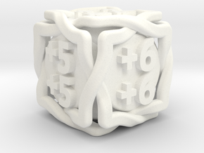 'Twined' D6 MTG +1/+1 Counters (14 mm) Solid in White Strong & Flexible Polished