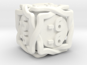 'Twined' D6 MTG -1/-1 Counters (14 mm) Solid in White Processed Versatile Plastic