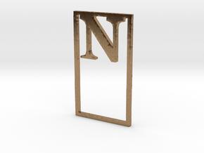 Bookmark Monogram. Initial / Letter  N  in Natural Brass