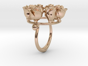 8 Roses in a circle.  in 14k Rose Gold Plated Brass