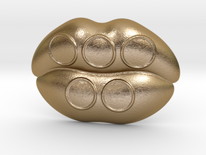 Kiss Me Olympic Belt Buckle in Polished Gold Steel