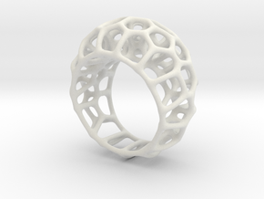 Voronoi Cell Ring  (Size 60) in White Natural Versatile Plastic