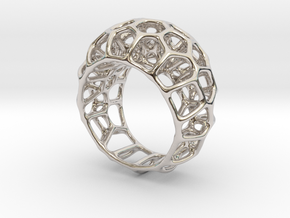 Voronoi Cell Ring  (Size 60) in Rhodium Plated Brass