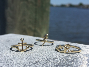 Ocean Waves Ring (Troubled Waters Trio) in Polished Brass: 6 / 51.5