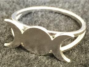 Triple Moon Ring (customize) in Raw Silver