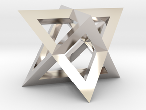 Mini-Merkaba - Sharp - Thin - 1cm in Rhodium Plated Brass
