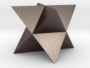 Mini-Merkaba - Solid - Sharp - 1cm in Polished Bronzed Silver Steel