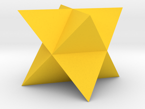 Mini-Merkaba - Solid - Sharp - 1cm in Yellow Processed Versatile Plastic