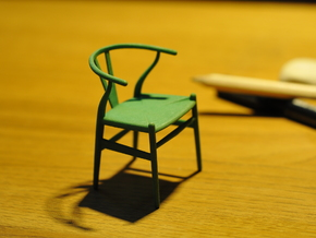Wishbone style chair 1/12 scale  in Green Processed Versatile Plastic