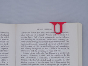 Bookmark Monogram. Initial / Letter U in Red Processed Versatile Plastic