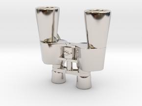 Binocular Pendant in Rhodium Plated Brass