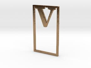Bookmark Monogram. Initial / Letter V in Natural Brass