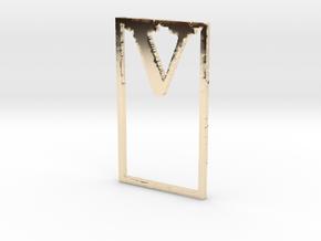 Bookmark Monogram. Initial / Letter V in 14k Gold Plated Brass