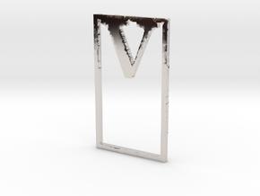 Bookmark Monogram. Initial / Letter V in Rhodium Plated Brass