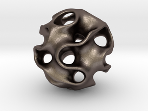 GYROID Spheroid Pendant - 20mm in Polished Bronzed Silver Steel
